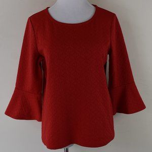 Chico's Size 0 Ruffle Sleeve Red Textured Blouse